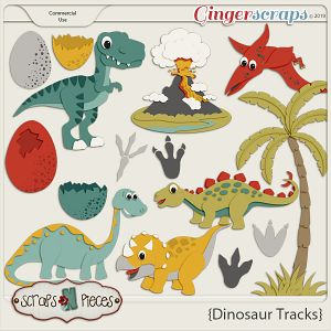 Dinosaur Tracks CU Templates by Scraps N Pieces