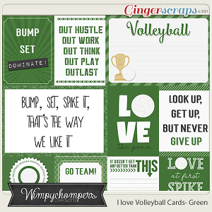 I Love Volleyball Cards- Green