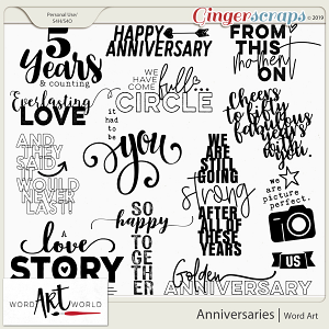 Anniversaries Word Art