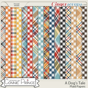 A Dog's Tale - Plaid Papers by Connie Prince