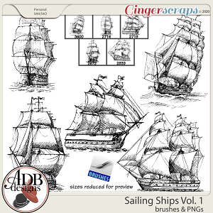 Heritage Resource - Sailing Ships Stamps & Brushes Set 01 by ADB Designs
