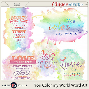 You Color My World Watercolor Word Art by Snickerdoodle Designs