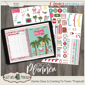 Santa Claus is Coming to Town Tropical Planner Pieces - Scraps N Pieces
