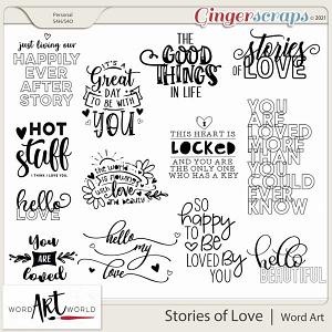 Stories of Love Word Art