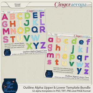Outline Alpha Upper & Lower Case Bundle by Miss Fish