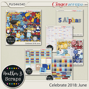 Celebrate 2018: June BUNDLE by Heather Z Scraps