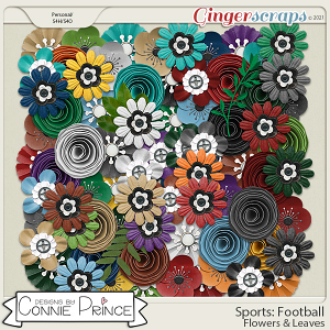 Sports: Football  - Flowers & Leaves by Connie Prince