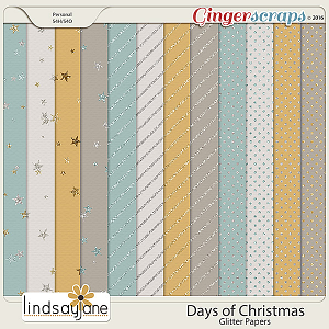 Days of Christmas Glitter Papers by Lindsay Jane
