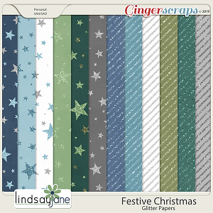 Festive Christmas Glitter Papers by Lindsay Jane