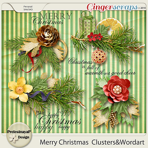 Merry Christmas Clusters & Wordart
