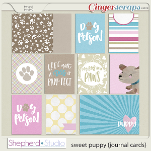 Sweet Puppy Journal Cards for Pocket Scrapbooking by Shepherd Studio