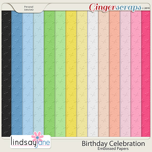 Birthday Celebration Embossed Papers by Lindsay Jane