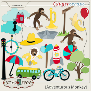 Adventurous Monkey CU - Scraps N Pieces