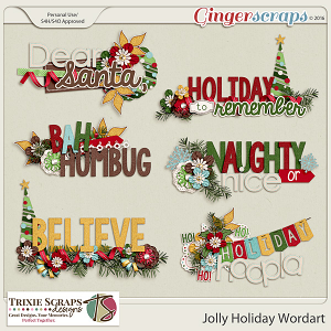 Jolly Holiday Wordart by Trixie Scraps Designs