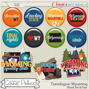 Travelogue Wyoming - Word Art & Flair Pack by Connie Prince