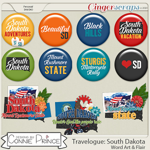 Travelogue South Dakota - Word Art & Flair Pack by Connie Prince