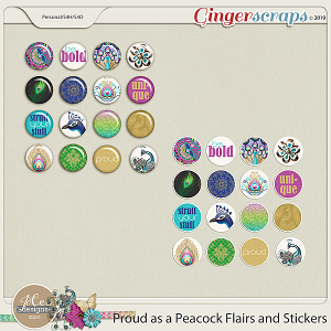 Proud As A Peacock Flairs and Stickers by JoCee Designs