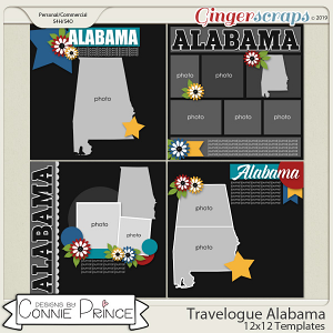 Travelogue Alabama - 12x12 Temps (CU Ok) by Connie Prince