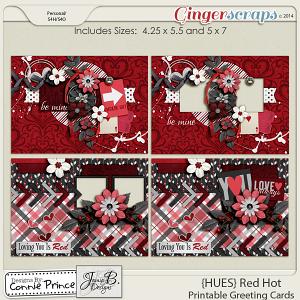 {HUES} Red Hot - Printable Greeting Cards