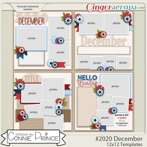 #2020 December - 12x12 Template Pack (CU Ok) by Connie Prince