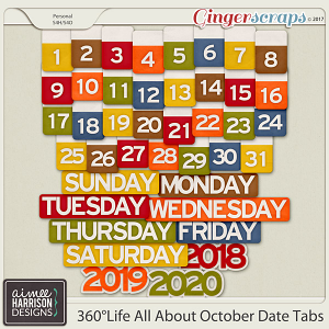 360°Life All About October Date Tabs by Aimee Harrison