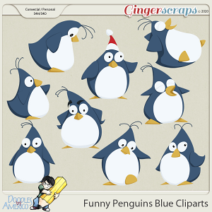 Doodles By Americo: Funny Penguins Blue Cliparts