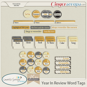 Year in Review Word Tags by JoCee Designs and Laurie's' Scraps and Designs