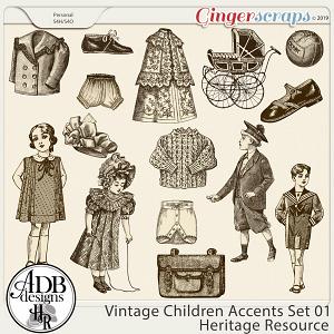 Heritage Resource - Vintage Children Accents Set 01 by ADB Designs