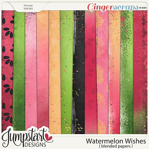 Watermelon Wishes {Blended Papers} by Jumpstart Designs