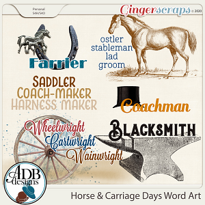 Horse & Carriage Days Word Art by ADB Designs