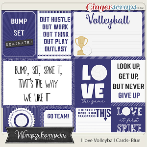 I Love Volleyball Cards- Blue