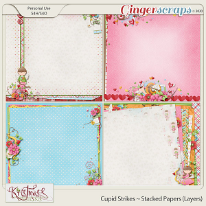 Cupid Strikes Stacked Papers (Layers)
