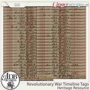 Heritage Resources Revolutionary War Timelines by ADB Designs