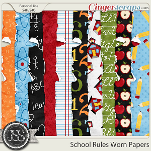 School Rules Worn and Torn Papers