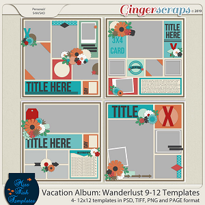 Vacation Album: Wanderlust 9-12 Templates by Miss Fish
