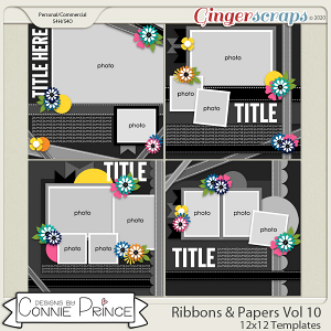 Ribbons & Papers Volume 10 - 12x12 Temps (CU Ok) by Connie Prince