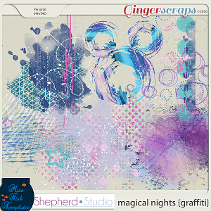 Magical Nights Graffiti Paints for Digital Scrapbooking by Shepherd Studio and Miss Fish