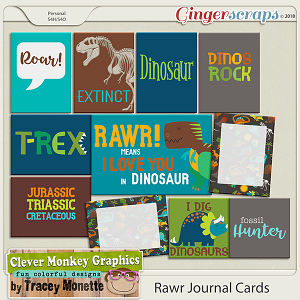 Rawr Journal Cards by Clever Monkey Graphics
