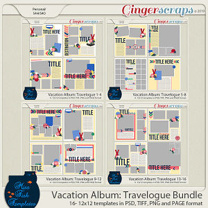 Vacation Album: Travelogue Templates Bundle by Miss Fish