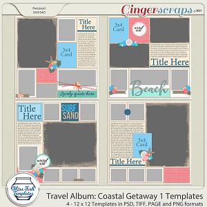 Travel Album Coastal Getaway 1 Templates by Miss Fish