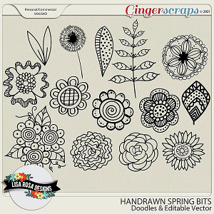 Doodled Spring Bits CU/PU Layered Templates by Lisa Rosa Designs