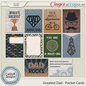 Greatest Dad - Pocket Cards by CathyK Designs