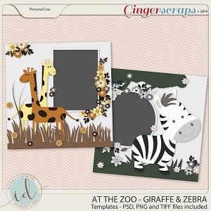 At The Zoo Giraffe & Zebra Templates by Ilonka's Designs