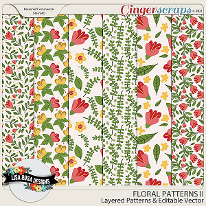Handrawn Floral Patterns II - Layered Templates & Editable Vector by Lisa Rosa Designs