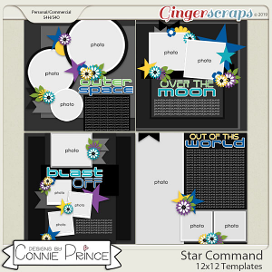 Star Command - 12x12 Templates (CU Ok) by Connie Prince