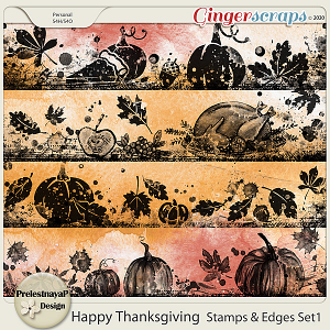 Happy Thanksgiving Stamps & Edges Set1