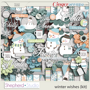 Winter Wishes Digital Scrapbooking Kit by Shepherd Studio
