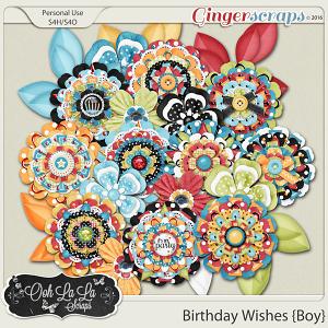 Birthday Wishes Boy Layered Flowers