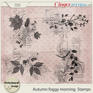 Autumn foggy morning Stamps