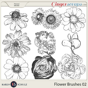 Flower Brushes 02 by Karen Schulz